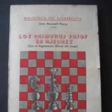 Coleccionismo deportivo: LOS PRIMEROS PASOS EN AJEDREZ. EDITORIAL BAUZA. BARCELONA AÑOS 50. Lote 21762549