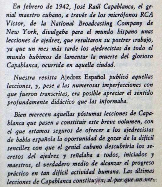 Coleccionismo deportivo: LIBRO LECCIONES ELEMENTALES DE AJEDREZ - J R CAPABLANCA JUEGO ESTRATEGIA GUÍA TEORÍA DEPORTE ETC - Foto 3 - 27485424