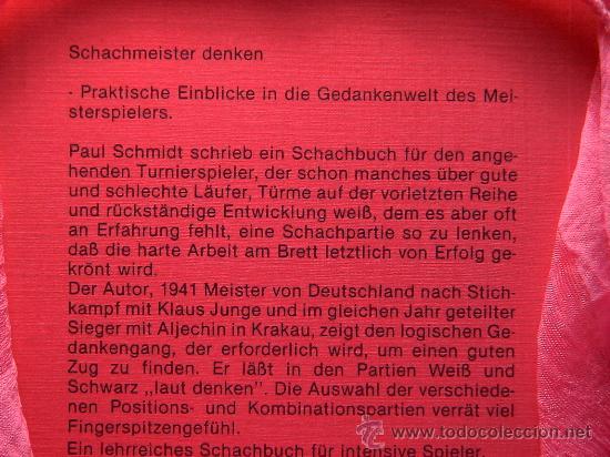 Coleccionismo deportivo: Ajedrez. Chess. Schach. Schachmeister denken - Paul Schmidt DESCATALOGADO!!! - Foto 3 - 28071316