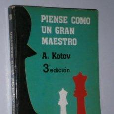 Coleccionismo deportivo: PIENSE COMO UN GRAN MAESTRO POR A. KOTOV DE EDITORIAL FUNDAMENTOS EN MADRID 1985 3ª EDICIÓN. Lote 29994952