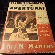 Coleccionismo deportivo: AJEDREZ. ESTUDIO RAZONADO DE LAS APERTURAS.. Lote 30128370