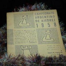 Coleccionismo deportivo: CAMPEONATO ARGENTINO DE AJEDREZ. BUENOS AIRES 1958 - ZOILO R. CAPUTTO DESCATALOGADO!!!. Lote 32259552