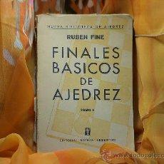 Coleccionismo deportivo: FINALES BÁSICOS DE AJEDREZ. TOMO I - RUBEN FINE DESCATALOGADO!!!. Lote 32514923