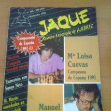 Coleccionismo deportivo: REVISTA DE AJEDREZ JAQUE Nº 316 1 NOVIEMBRE 1991 AÑO XXI CHESS. Lote 39788291