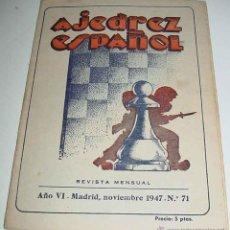 Coleccionismo deportivo: EL AJEDREZ ESPAÑOL. (AÑO 1947). MADRID. ANTIGUA REVISTA MENSUAL. ORGANO OFICIAL DE LA FEDERACIÓN ESP. Lote 38252088