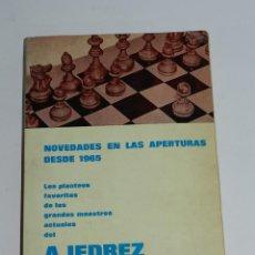 Coleccionismo deportivo: NOVEDADES EN LAS APERTURAS EN EL AJEDREZ DESDE 1965 - JULIO GANZO - RICARDO AGUILERA 1969 - MADRID . Lote 38287853