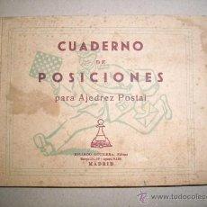 Coleccionismo deportivo: CUADERNO DE POSICIONES PARA AJEDREZ POSTAL. Lote 41248768