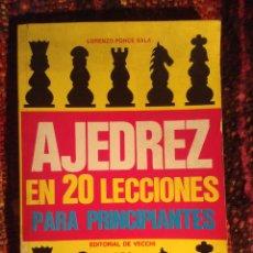 Coleccionismo deportivo: AJEDREZ EN 20 LECCIONES PARA PRINCIPIANTES. PONCE. Lote 42749513