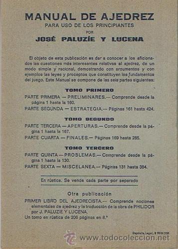 Coleccionismo deportivo: MANUAL DE AJEDREZ JOSÉ PALUZÍE Y LUCENA PARTE PRIMERA PRELIMINARES - Foto 2 - 43421469