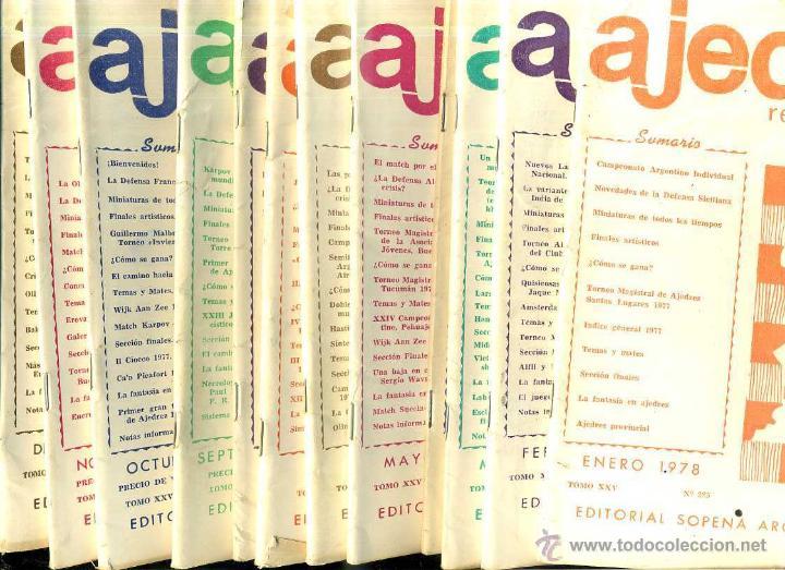 REVISTA AJEDREZ AÑO COMPLETO 1978 - SOPENA ARGENTINA (Coleccionismo Deportivo - Libros de Ajedrez)