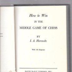 Coleccionismo deportivo: HOW TO WIN IN THE MIDDLE GAME OF CHESS. POR I. A. HOROWITZ. 1955. DAVID MCKAY COMPANY, INC. NEW YORK. Lote 49872151