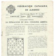 Coleccionismo deportivo: CIRCULAR ASOCIADOS FEDERACION CATALANA DE AJEDREZ . Lote 56960334