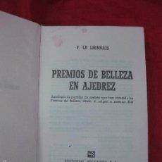 Coleccionismo deportivo: PREMIOS DE BELLEZA EN AJEDREZ. FRANÇOIS LE LIONNAIS. EDITORIAL BRUGUERA 1ª EDICION 1965. Lote 57370946
