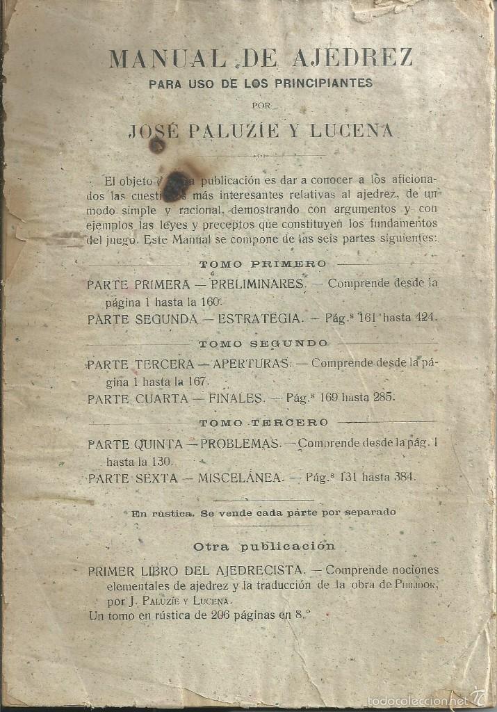 Coleccionismo deportivo: MANUAL DE AJEDREZ - PALUZÍE Y LUCENA - PARTE 5ª PROBLEMAS. BARCELONA 1947 IMPRENTA ELZEVIRIANA - Foto 3 - 60082555