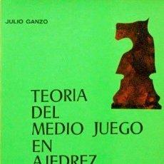 Coleccionismo deportivo: TEORIA DEL MEDIO JUEGO EN AJEDREZ AL SERVICIO DEL PRINCIPIANTE Y DEL JUGADOR INICIADO - GANZO, JULIO. Lote 140442416