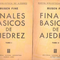 Coleccionismo deportivo: RUBEN FINE : FINALES BÁSICOS EN AJEDREZ - DOS TOMOS (SOPENA ARGENTINA, 1955). Lote 67598957