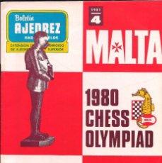 Coleccionismo deportivo: BOLETÍN AJEDREZ RADIO REBELDE # 4 / 1981 / CHESS OLYMPIAD MALTA 1980 ~ OLIMPIADA. Lote 279470863