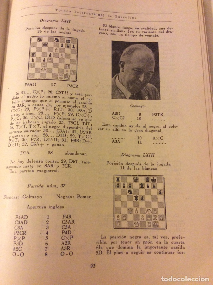 Coleccionismo deportivo: Magnifico libro Torneo Internacional Ajedrez Barcelona 1946 Rafael Llorens - Foto 4 - 158956536