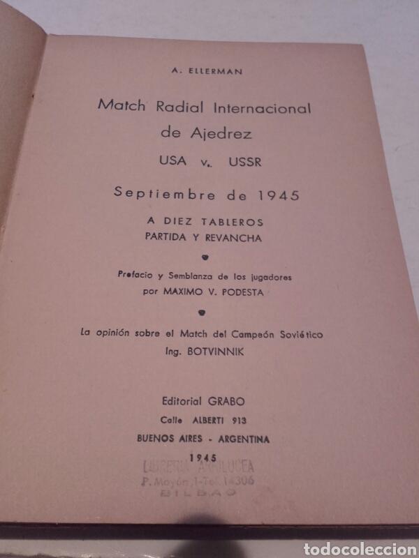 Coleccionismo deportivo: A. ELLERMAN. MACTH RADIAL INTERNACIONAL DE AJEDREZ. 1945. MÁXIMO PODESTA. BOTVINNIK. - Foto 2 - 75513338