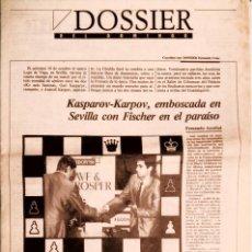Coleccionismo deportivo: DIARIO16 AJEDREZ KASPAROV-KARPOV SEVILLA ESPECIAL 8 PAG. CHESS ARRABAL KORCHNOI. Lote 95885755