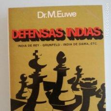 Coleccionismo deportivo: DEFENSAS INDIAS POR DR.M.EUWE - EDICIONES LIMITADAS CATALAN 1975 - LIBRO AJEDREZ -NUEVO. Lote 184313603