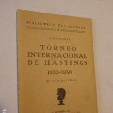 Coleccionismo deportivo: TORNEO INTERNACIONAL DE HASTINGS 1935 - 1936. G. KOLTANOWSKI. BIBLIOTECA DE AJEDREZ. 2. 1936. C.. Lote 107773567