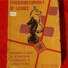 Coleccionismo deportivo: FEDERACION ESPAÑOLA DE AJEDREZ - LIBRO REGLAMENTO FIDE (EDICION OFICIAL 1958) F.I.D.E.. Lote 116115991