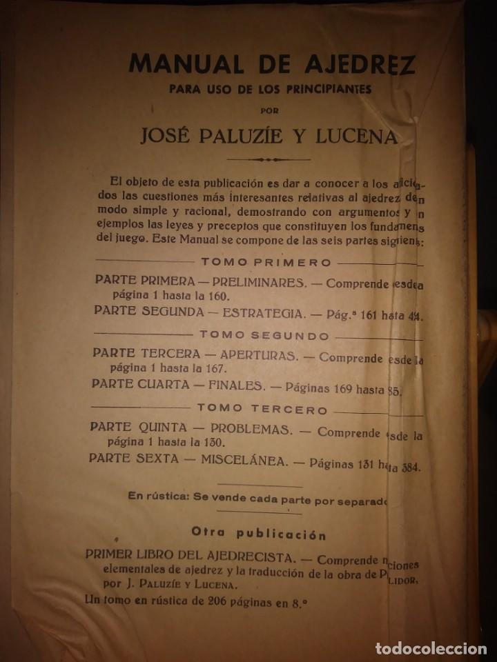 Coleccionismo deportivo: Manual de ajedrez. José Paluzie y Lucena. Parte segunda. Estrategia. - Foto 2 - 138911290