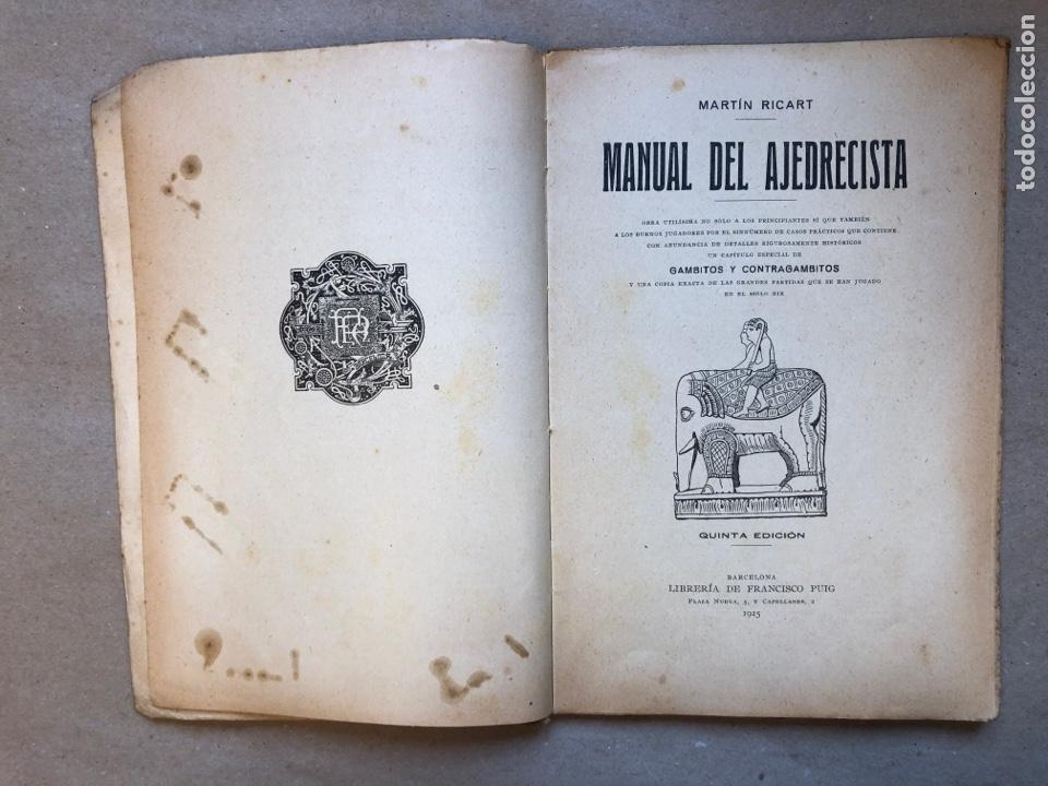 Coleccionismo deportivo: MANUAL DEL AJEDRECISTA. MARTÍN RICART. LIBRERÍA FRANCISCO PUIG 1925. - Foto 2 - 148749878