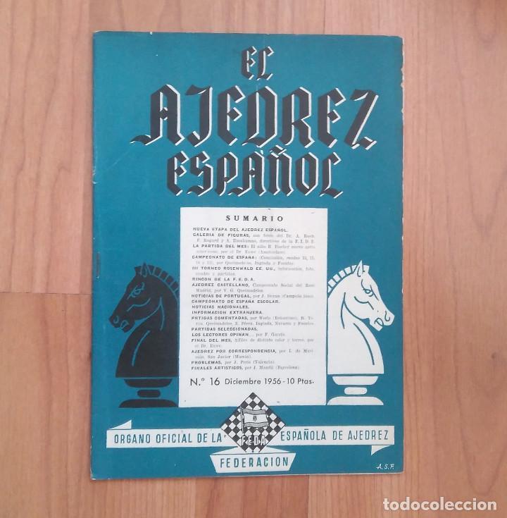 AJEDREZ ESPAÑOL 1 REVISTA 1956 N.16 FISCHER (Coleccionismo Deportivo - Libros de Ajedrez)