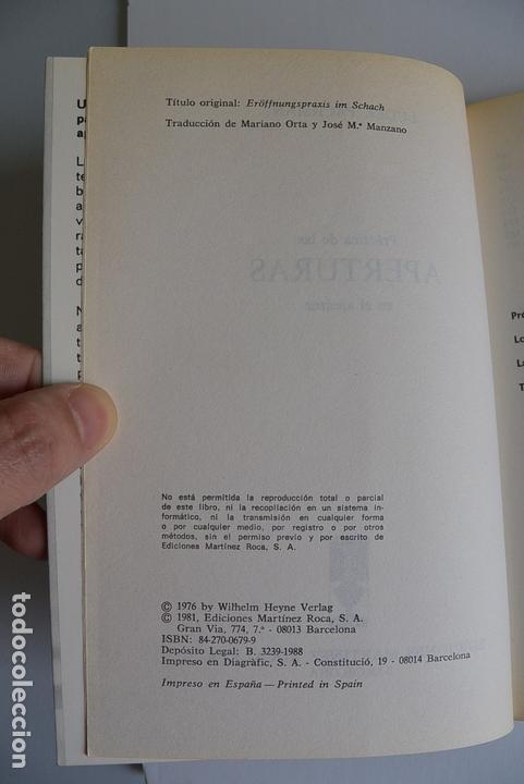 Coleccionismo deportivo: PRÁCTICA DE LAS APERTURAS EN EL AJEDREZ LUDEK PACHMAN COLECCION ESCAQUES 1981 - Foto 3 - 165201750