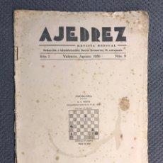 Coleccionismo deportivo: AJEDREZ. REVISTA MENSUAL. AÑO I, NO.9, VALENCIA AGOSTO DE 1930.. Lote 172275589