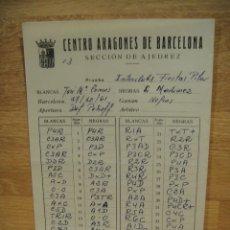 Coleccionismo deportivo: CENTRO ARAGONES DE BARCELONA , SECCION DE AJEDREZ - HOJA DE ACTA DE PARTIDA - AÑO 1961. Lote 175631082