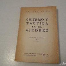 Coleccionismo deportivo: AJEDREZ. CHESS. DR. MAX EUWE. CRITERIO Y TACTICA EN EL AJEDREZ.. Lote 176422944