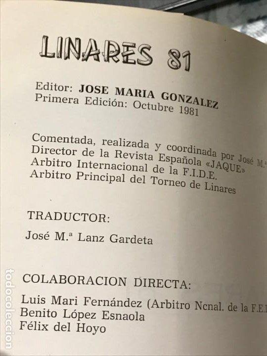 Coleccionismo deportivo: Torneo de Linares 1981 Editorial JAQUE primera edición Octubre 1981 - Foto 2 - 183543280