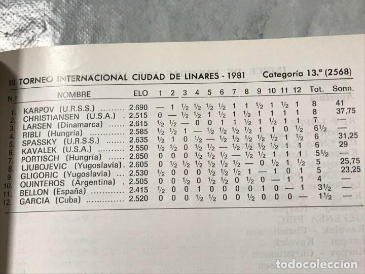 Coleccionismo deportivo: Torneo de Linares 1981 Editorial JAQUE primera edición Octubre 1981 - Foto 3 - 183543280