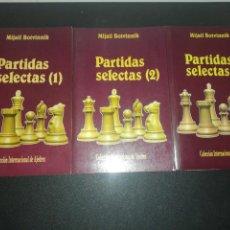 Coleccionismo deportivo: PARTIDAS SELECTAS. TRES VOLÚMENES. BOTVINNIK MIJAIL. 1990,1991,1992. Lote 183869656