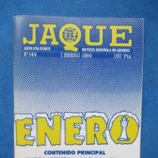 Coleccionismo deportivo: REVISTA ESPAÑOLA DE AJEDREZ JAQUE. N. 144 ENERO 1984.. Lote 183999790