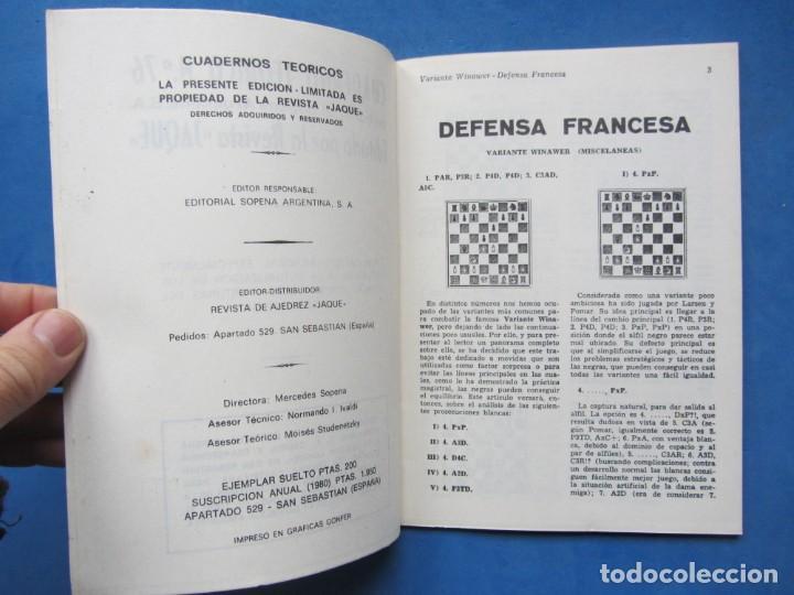 Coleccionismo deportivo: Revista española de Ajedrez Jaque. Cuadernos Teoricos 76. Octubre 1980 - Foto 4 - 183999931
