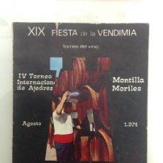 Coleccionismo deportivo: TORNEO INTERNACIONAL DE AJEDREZ. XIX FIESTA DE LA VENDIMIA MONTILLA 1974. Lote 189425557
