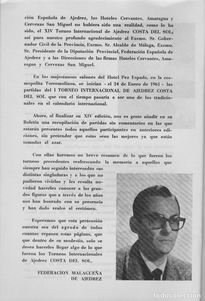 Coleccionismo deportivo: XIV Torneo Internacional de Ajedrez Costa del Sol - Foto 2 - 197813700