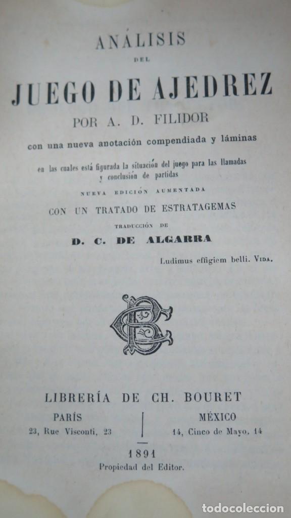Coleccionismo deportivo: 1891.- ANALISIS DEL JUEGO DE AJEDREZ. FILIDOR - Foto 2 - 198418492