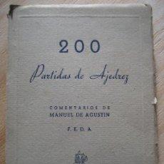 Collectionnisme sportif: 200 PARTIDAS DE AJEDREZ. CAMPEONATO NACIONAL DE 1942-1943.COMENTARIOS DE MANUEL DE AGUSTIN.. Lote 203767280