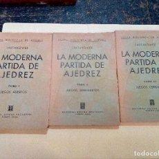 Colecionismo desportivo: T-36.- LA MODERNA PARTIDA DE AJEDREZ.- 3- TOMOS , DIFERENTES JUEGOS , EDIT. SOPENA ,1ª EDICION 1952. Lote 208847185