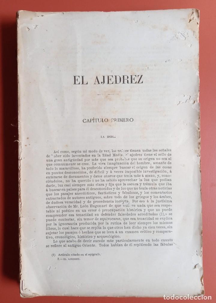 Coleccionismo deportivo: EL AJEDREZ - INVESTIGACIONES SOBRE SU ORIGEN - JOSE BRUNET Y BELLET - 1890 - ILUSTRADO - Foto 9 - 215799955