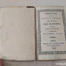 Coleccionismo deportivo: AJEDREZ - ESPLICACION DE LAS LEYES Y REGLAS PARA EL JUEGO DEL ALJEDRÉS, SACADAS DEL FILIDOR-AÑO 1832. Lote 222360340