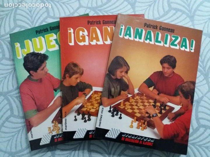 LOTE 3 LIBROS AJEDREZ. JUEGA, GANA, ANALIZA. COLECCIÓN ESCAQUES. MARTINEZ ROCA. 1990/91. (Coleccionismo Deportivo - Libros de Ajedrez)