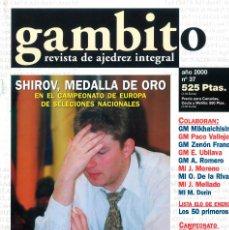 Coleccionismo deportivo: AJEDREZ. REVISTA GAMBITO 37 2000. Lote 280107433
