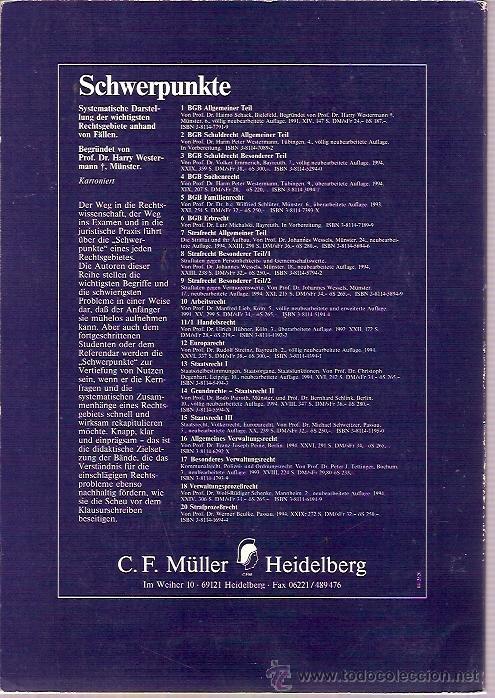 Libros: HEIDELBERG MÚLLER JURISTISCHER VERLAG SCHWERPUNKTE STAATSRECHT III MICHAEL SCHWEITZER 5 NEUBEARBEITE - Foto 2 - 15093249