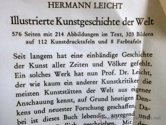 Libros: HERMANN LEICHT ILLUSTRIERTE KUNTS-GESCHICHTE DER WELT - Foto 7 - 36897581